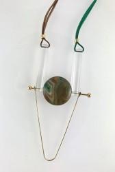 - Akik (Agate) Taşlı Pleksili Tasarım Kolye - Gold Kaplama