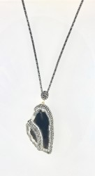 - Swarovski Hematit ve Kristal Taş İşlenmiş Agate Taşlı Uzun Kolye - Siyah Kaplama