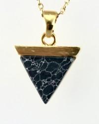 Oniks Taşlı Zarif Gümüş Kolye - Thumbnail