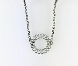 - Bükme Telden Yapılmış Güneş Figürlü Kolye - Antik Gümüş Kaplama