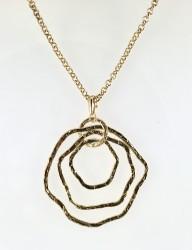 - Dövme Metalden Yapılmış 3 Halkalı Tasarım Kolye - Gold Kaplama