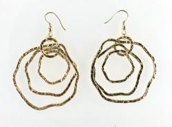 - Dövme Metalden Yapılmış 3 Halkalı Tasarım Küpe - Gold Kaplama