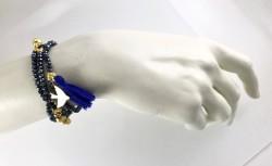 Hematit Kristal Taşlı Esnek , 3 kat Sarma Bileklik+Kolye - Gold Kaplama - Thumbnail