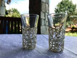 - İki Adet Çıkarılabilir Dekoratif Metal İşlemeli Shot Bardağı - Gümüş Kaplama