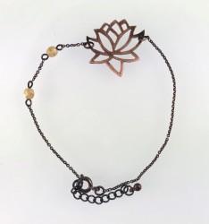 - Yeşim ( Jade) Taşlı Lotus Çiçeği Bileklik - Antik Bakır Kaplama