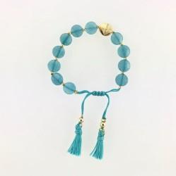 - Mavi Yeşim ( Jade) Taşlı Püsküllü Örgü Bileklik - Gold Kaplama