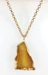 - Akik (Agate) Taşlı Uzun Kolye - Gold Kaplama