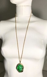 Akik (Agate) Taşlı Uzun Kolye - Gold Kaplama - Thumbnail