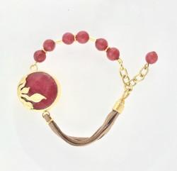- Kırmızı Yeşim ( Jade) Taşlı Yaprak Figürlü Bileklik - Gold Kaplama