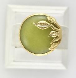 - Yeşim ( Jade) Taşlı Yaprak Figürlü Yüzük - Gold Kaplama