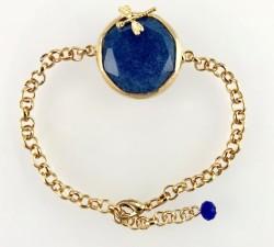 - Lacivert Yeşim ( Jade) Taşlı Yusufçuk Figürlü Bileklik - Gold Kaplama