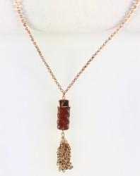 - Yeşim (Jade) Taşlı Zincir Püsküllü Kısa Kolye - Rose gold Kaplama
