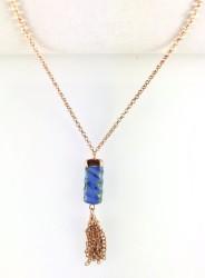 - Mavi Yeşim (Jade) Taşlı Zincir Püsküllü Kısa Kolye - Rose gold Kaplama