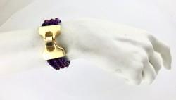 Kristal Taşlı Örme Bileklik - Gold Kaplama - Thumbnail