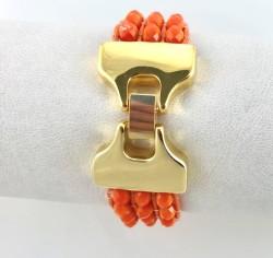- Kristal Taşlı Örme Bileklik - Gold Kaplama