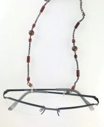 - Kristal Taşlı Gözlük Zinciri - Antik Bakır Kaplama