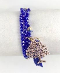 Lila Rengi Kristal Taşlı Esnek, Sonsuzluk Ağacı 3 kat Sarma Bileklik+Kolye - Gold Kaplama - Thumbnail