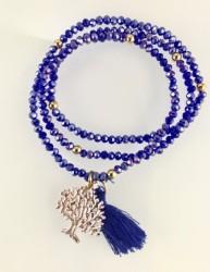 - Lila Rengi Kristal Taşlı Esnek, Sonsuzluk Ağacı 3 kat Sarma Bileklik+Kolye - Gold Kaplama
