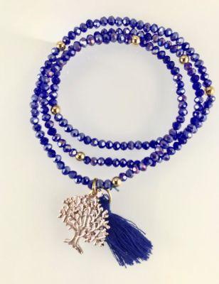 Lila Rengi Kristal Taşlı Esnek, Sonsuzluk Ağacı 3 kat Sarma Bileklik+Kolye - Gold Kaplama