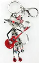 - Mine İşlemeli Swarovski Kristal Taşlı Gitarist Kedi Anahtarlık ve Çanta Aksesuarı - Rhodium Kaplama