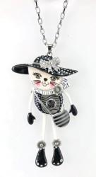- Mine İşlemeli, Swarovski Taşlı (Elegance Kedi) Uzun Tasarım Kolye - Rhodium Kaplama