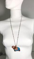 Mine İşlemeli Kalp motifli Uğurlu Fil Uzun Tasarım Kolye - Rhodium Kaplama - Thumbnail