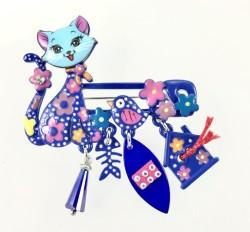 - Mine İşlemeli Sevimli Kedi Broş - Rhodium Kaplama