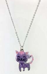 - Mine İşlemeli Sevimli Lila Renkli Kedicik Kısa Tasarım Kolye - Rhodium Kaplama