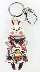 - Mine İşlemeli Sevimli Tavşan Anahtarlık ve Çanta Aksesuarı - Rhodium Kaplama