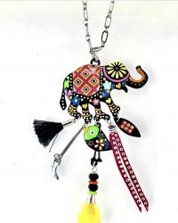 - Mine İşlemeli Uğurlu Fil ve Kuş Figürlü Boho Uzun Tasarım Kolye - Rhodium Kaplama