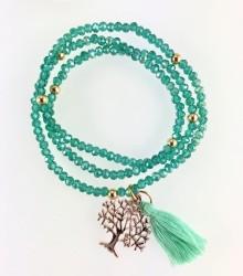 - Mint Yeşili Kristal Taşlı Esnek, Sonsuzluk Ağacı 3 kat Sarma Bileklik+Kolye - Gold Kaplama