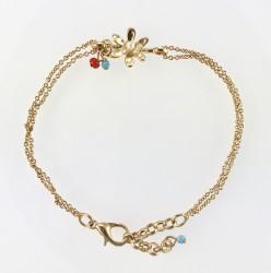- Miyuki Boncuklu Çiçek Figürlü Çift Zincirli Bileklik - Gold Kaplama