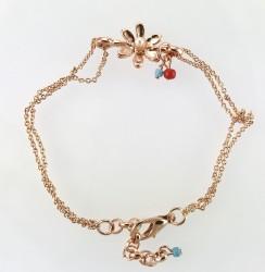 - Miyuki Boncuklu Çiçek Figürlü Çift Zincirli Bileklik - Rose gold Kaplama