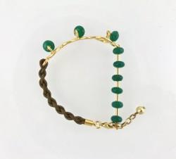 - Yeşim (Jade) Taşlı Örgü İpli Bileklik - Gold Kaplama