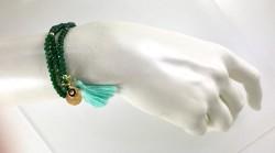Nefti Yeşil Kristal Taşlı Esnek ,Nazar Mineli 3 kat sarma Bileklik+Kolye - Gold Kaplama - Thumbnail