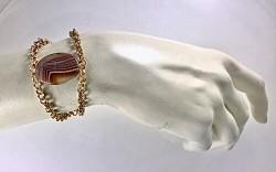Akik (Agate) Taşlı Bileklik - Gold Kaplama - Thumbnail
