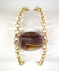 - Akik (Agate) Taşlı Bileklik - Gold Kaplama