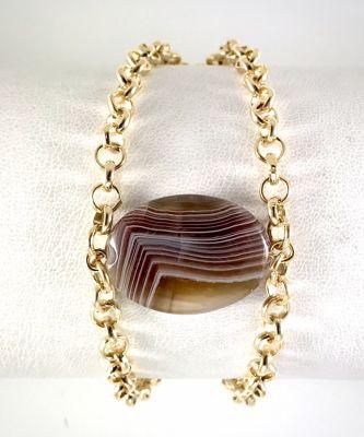 Akik (Agate) Taşlı Bileklik - Gold Kaplama