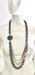 Oniks Taşlı Tasarım Uzun Kolye - Siyah ve Gold Kaplama - Thumbnail