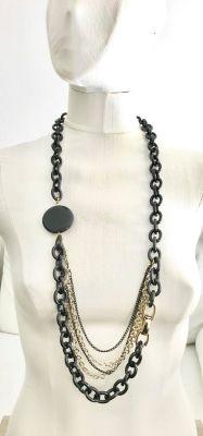 Oniks Taşlı Tasarım Uzun Kolye - Siyah ve Gold Kaplama