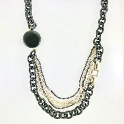 - Oniks Taşlı Tasarım Uzun Kolye - Siyah ve Gold Kaplama