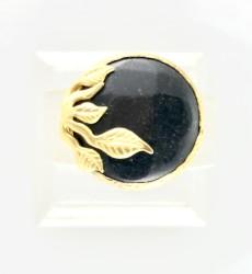 - Oniks (Onix) Taşlı Yaprak Figürlü Yüzük - Gold Kaplama