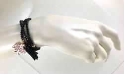 Siyah Kristal Taşlı Esnek ,Sonsuzluk Ağacı 3 kat sarma Bileklik+Kolye - Gold Kaplama - Thumbnail