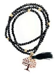 - Siyah Kristal Taşlı Esnek ,Sonsuzluk Ağacı 3 kat sarma Bileklik+Kolye - Gold Kaplama