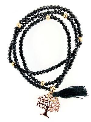 Siyah Kristal Taşlı Esnek ,Sonsuzluk Ağacı 3 kat sarma Bileklik+Kolye - Gold Kaplama