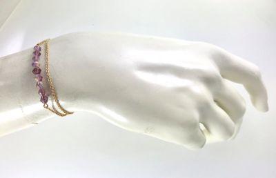 Swarovski Ametist Kristal (Bulk Crystal Amethyst) Taşlı Çift Zincirli Bileklik - Gold Kaplama