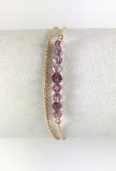 Swarovski Ametist Kristal (Bulk Crystal Amethyst) Taşlı Çift Zincirli Bileklik - Gold Kaplama - Thumbnail