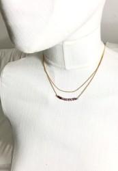 Swarovski Ametist Kristal (Bulk Crystal Amethyst) Taşlı Çift Zincirli Kolye - Gold Kaplama - Thumbnail