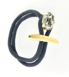 - Swarovski Kristal Black Diamond Taşlı Bileklik - Gold Kaplama