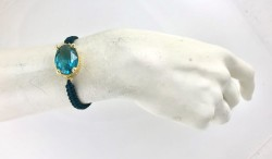 Swarovski Mavi (Blue Zircon) Taşlı Örme Bileklik - Gold Kaplama - Thumbnail